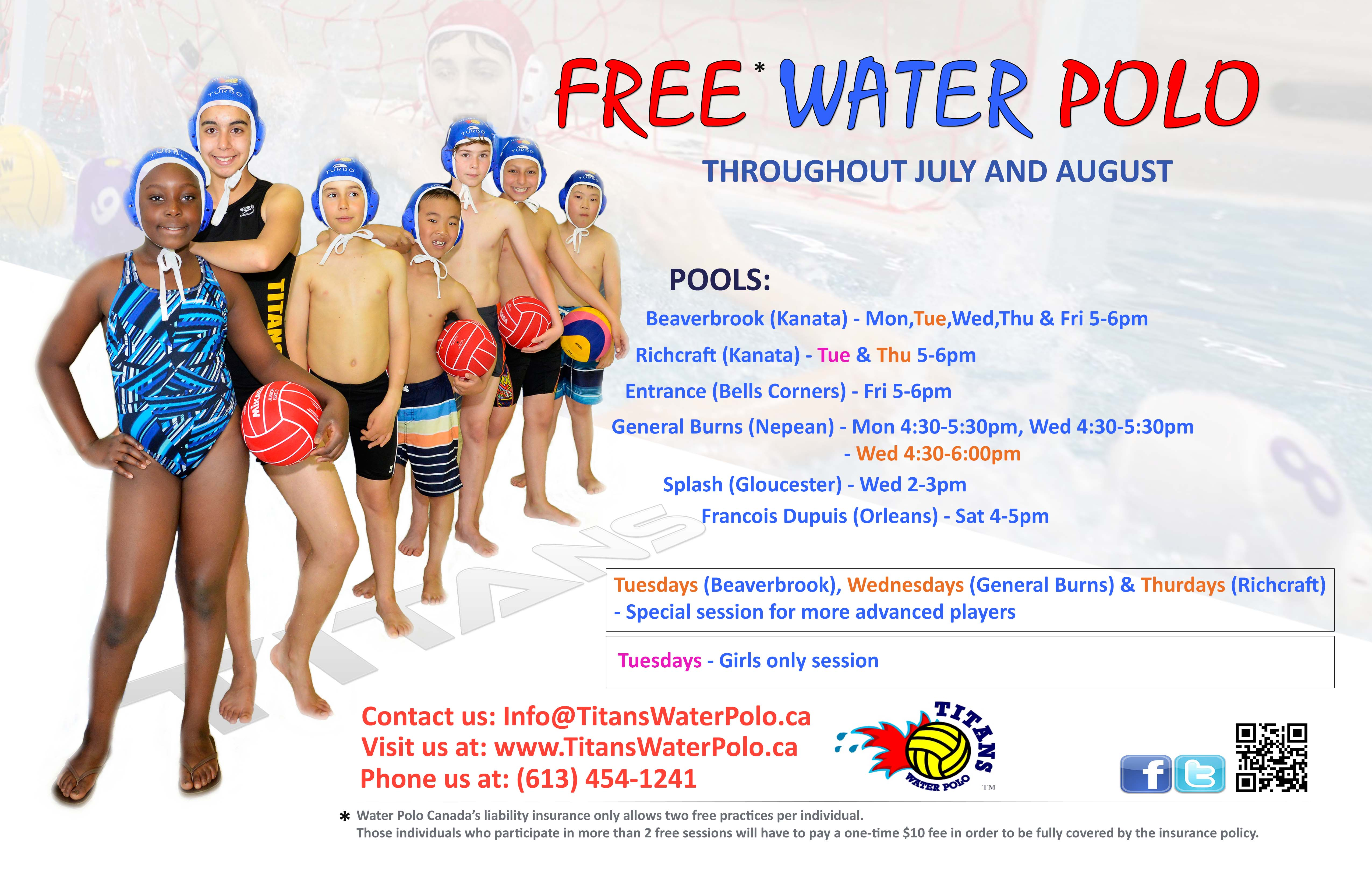 FREE Water Polo throughout July and August